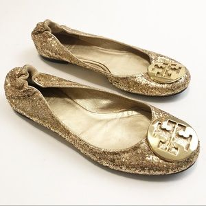 Tory Burch Reva Gold Glitter Flats